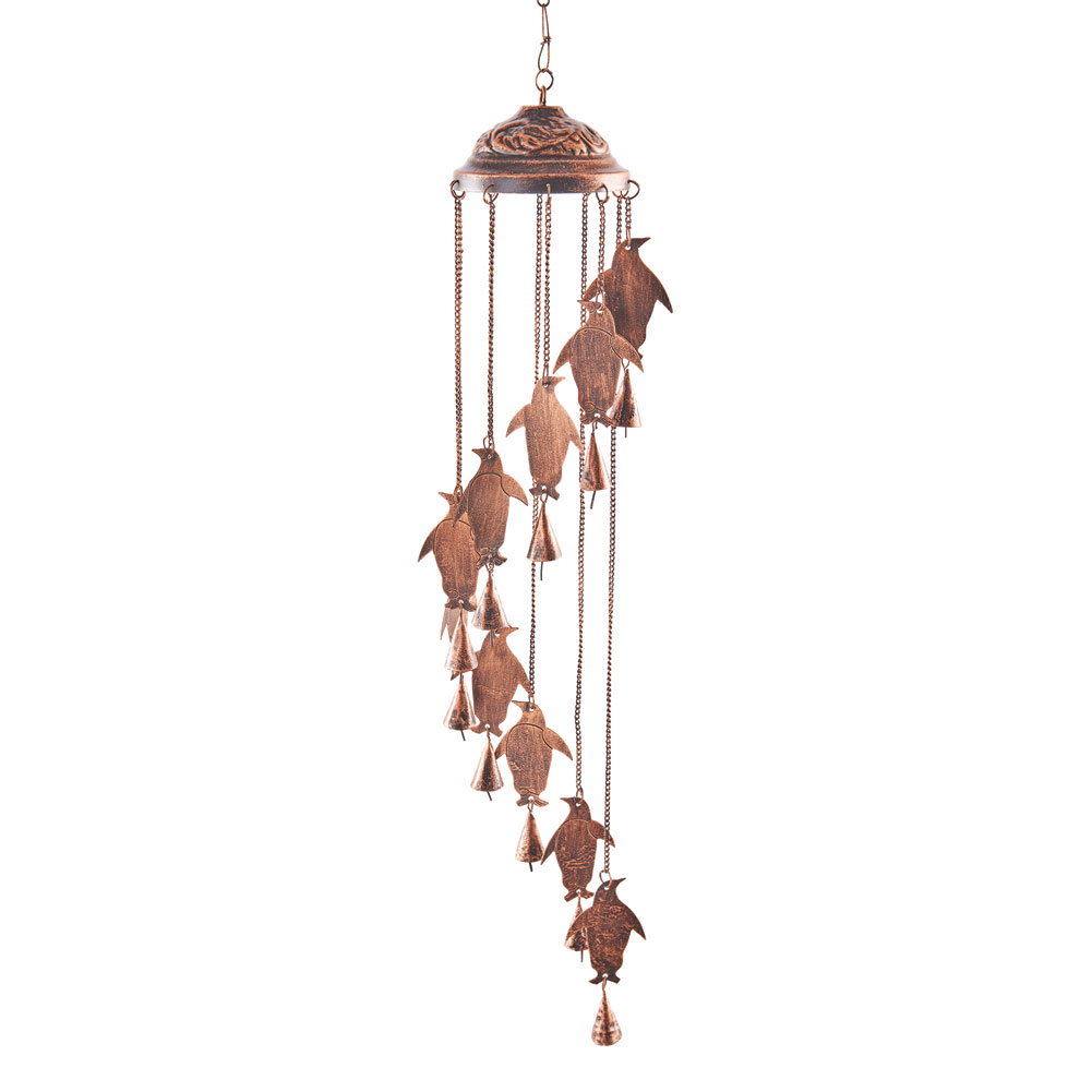 penguin copper metal wind chimes 30 long fun garden. Black Bedroom Furniture Sets. Home Design Ideas