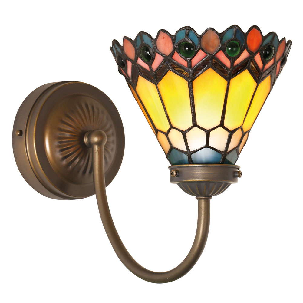 Tiffany Battery Wall Sconces : Peacock Wall Sconce - Tiffany Style Art Glass LED Light - Battery Powered eBay