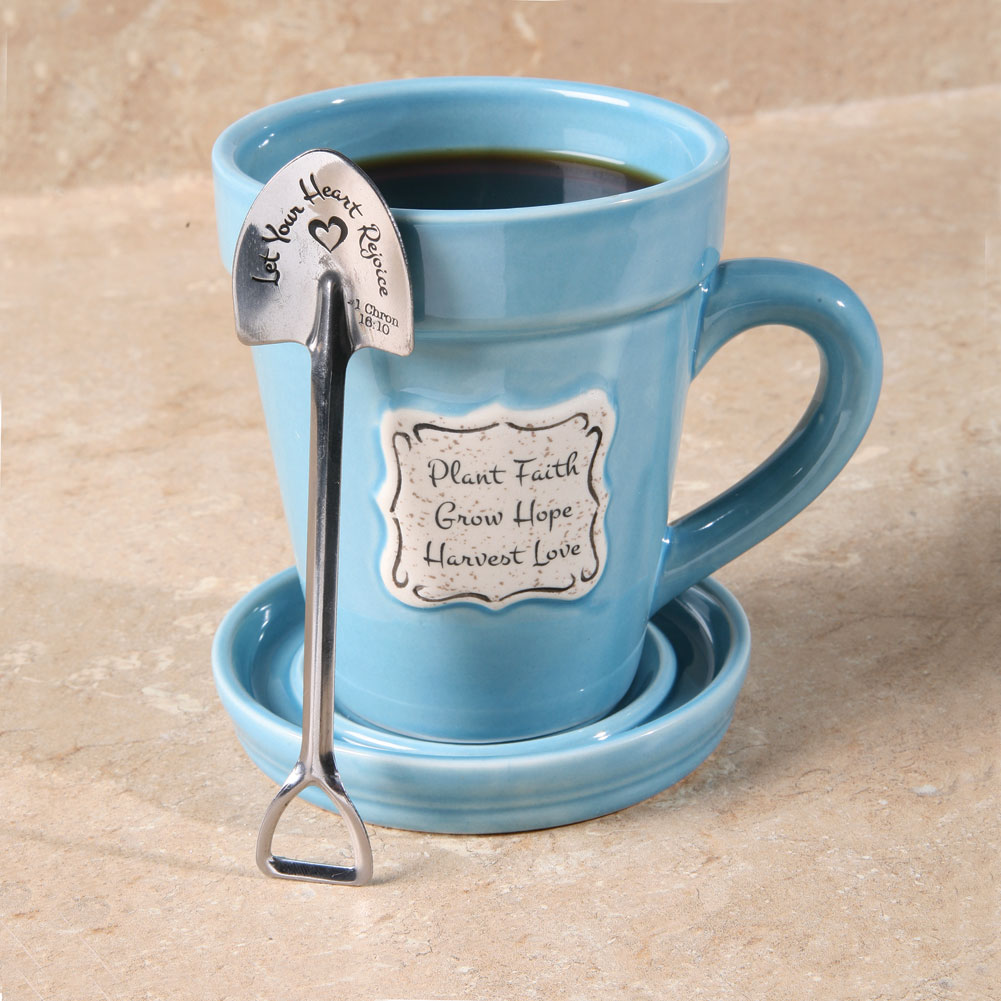 Plant Faith Flowerpot Mug With Saucer Amp Spade Shaped Spoon