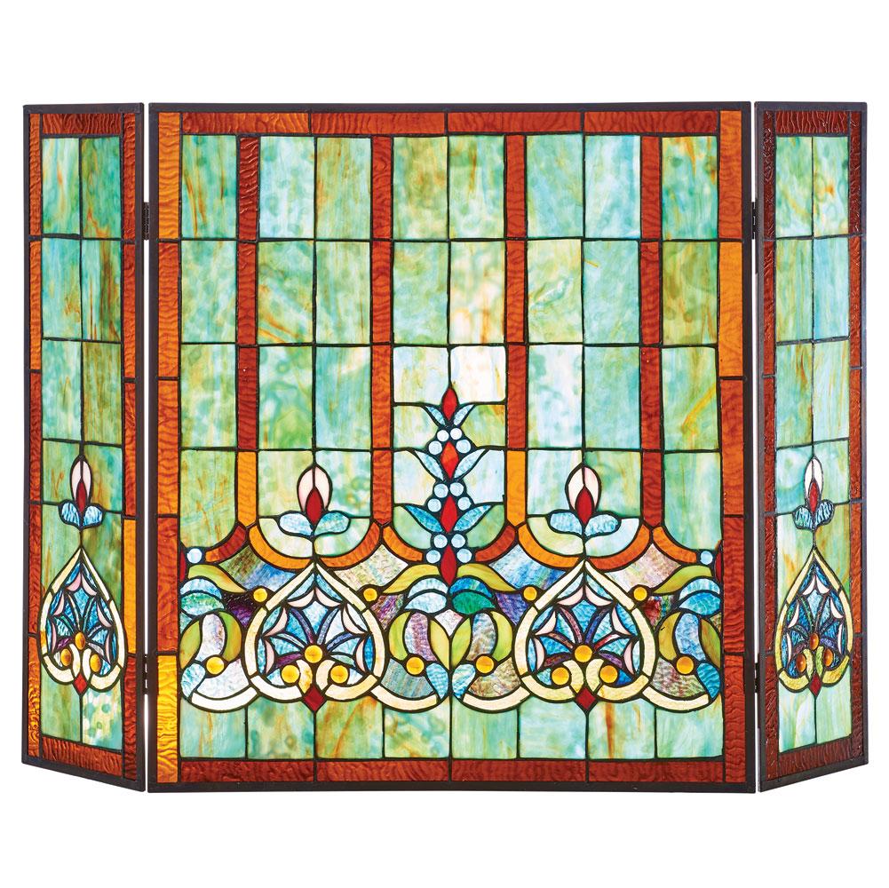 Stained Glass Hearts Fireplace Screen Tri Fold Tiffany Style Art Glass Ebay
