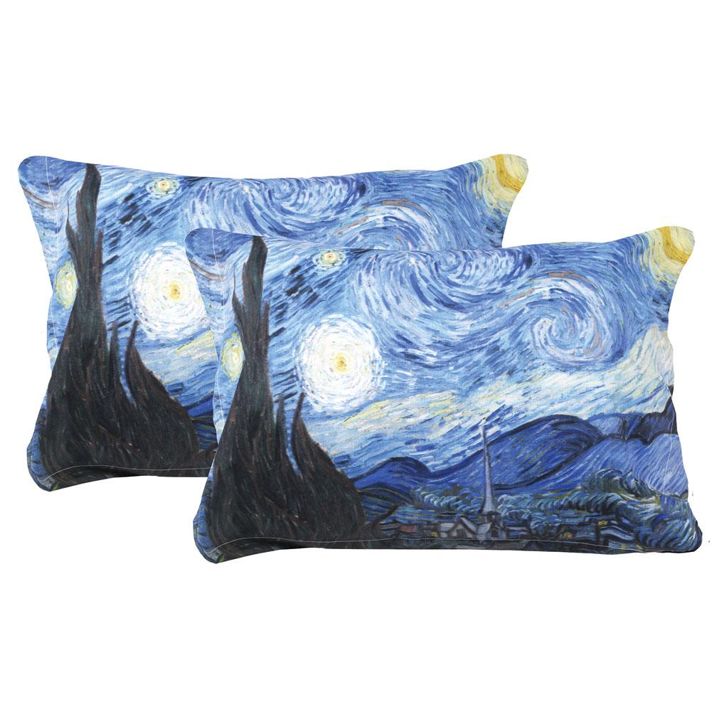 MANUAL WOODWORKERS & WEAVERS Van Gogh Starry Night Painting Set Of 2 Shams