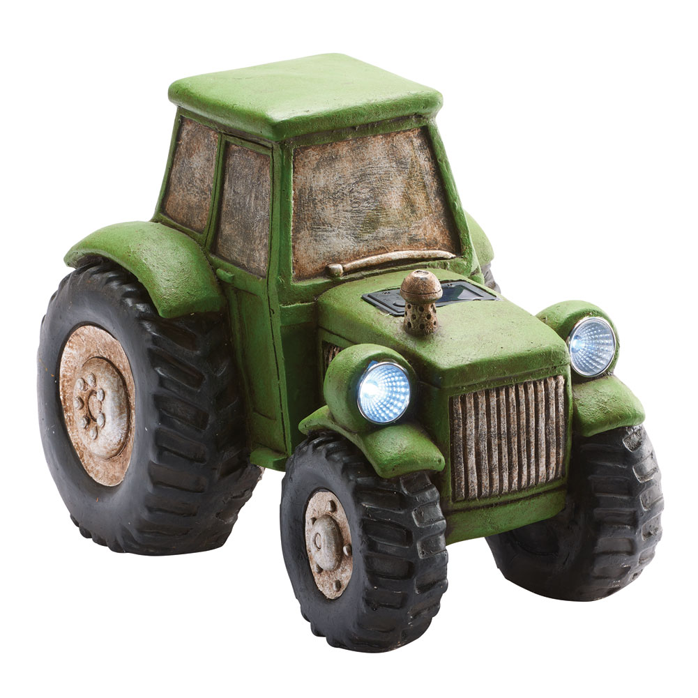 Tractor With Headlights : Light up tractor garden sculpture with solar powered
