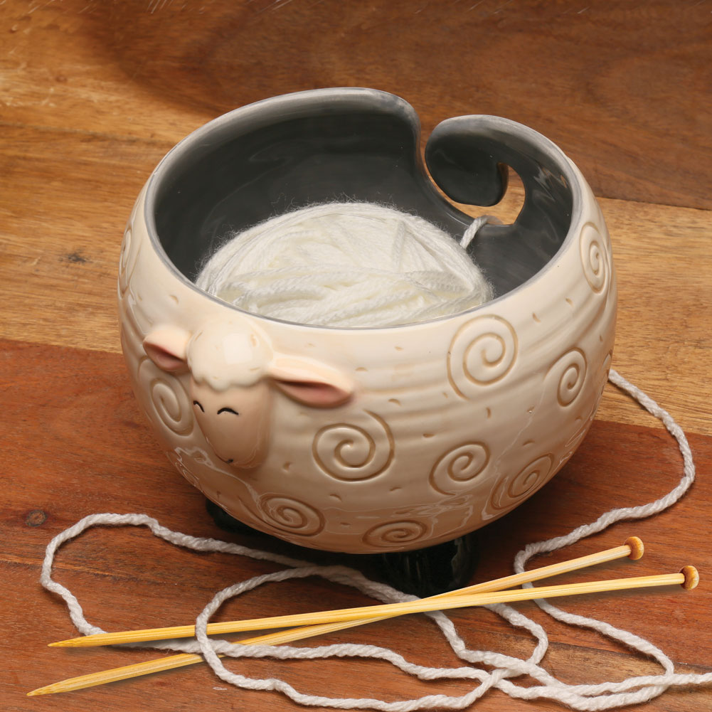 Knitting Yarn Bowl : Sleepy sheep shaped yarn knitting bowl holds ball for