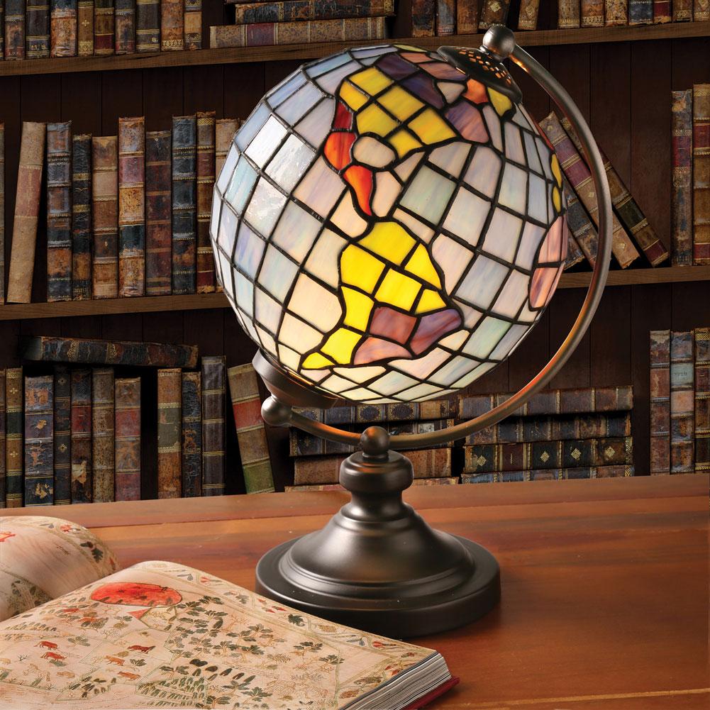 Desk Lamp - Stained Glass World Globe Illuminated Accent Light | eBay