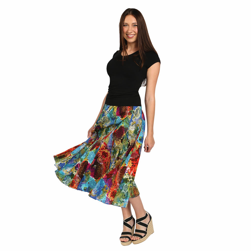 menagerie bold colors floral crinkle maxi broom skirt