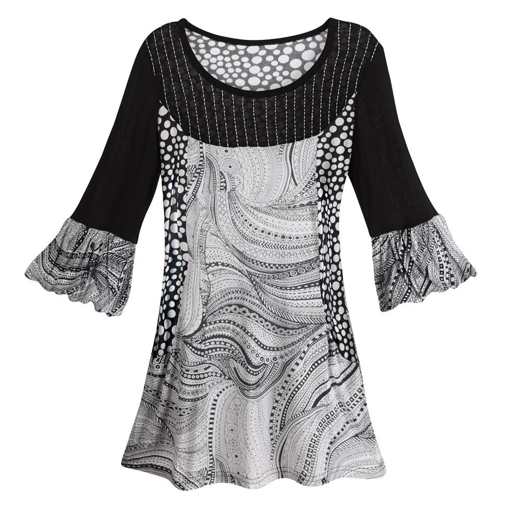 CATALOG CLASSICS Women's Black & White Paisley Print Tunic Top