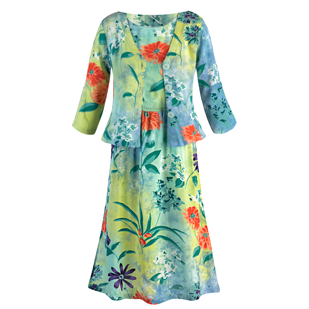 CATALOG CLASSICS Tropical Island Garden Floral 2 Piece Tank Dress with Jacket at Sears.com