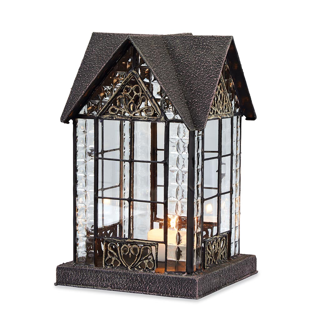 Glass And Metal Architectural Candle Lantern Bronze Tone