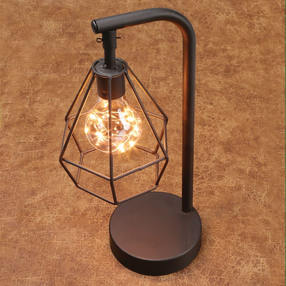 Table desk accent lamp 12 h metal vintage cage led for 12 led table lamp