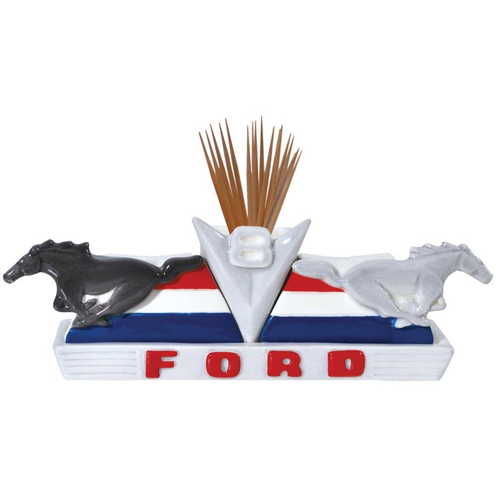 Magnetic ceramic ford v8 ponies salt and pepper shaker and toothpick holder set ebay - Toothpick shaker ...